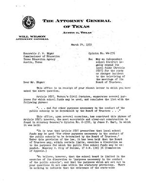 Primary view of object titled 'Texas Attorney General Opinion: WW-576'.