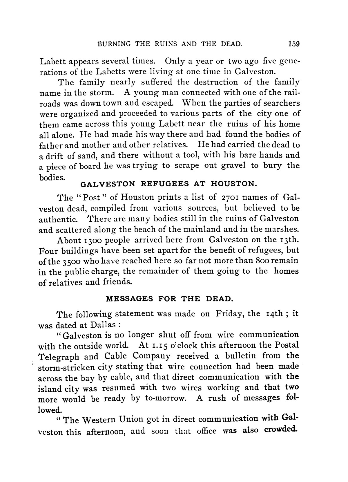 The Great Galveston Disaster, Containing a Full and Thrilling Account of the Most Appalling Calamity of Modern Times                                                                                                      159