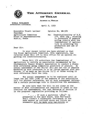 Primary view of object titled 'Texas Attorney General Opinion: WW-584'.