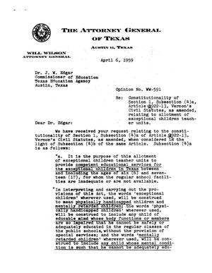 Primary view of object titled 'Texas Attorney General Opinion: WW-591'.