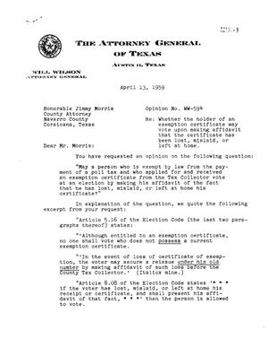 Primary view of object titled 'Texas Attorney General Opinion: WW-594'.