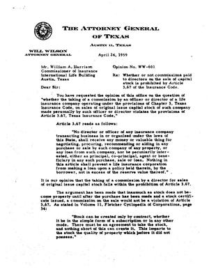 Primary view of object titled 'Texas Attorney General Opinion: WW-601'.