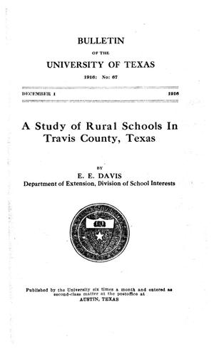 Primary view of object titled 'A Study of Rural Schools in Travis County, Texas'.