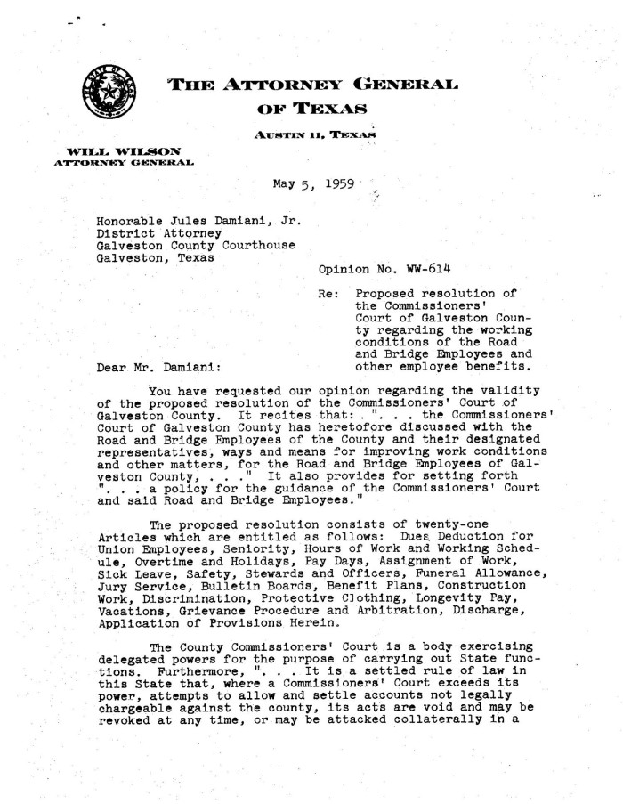 texas attorney general opinion ww 614 the portal to texas history