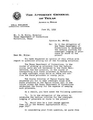 Primary view of object titled 'Texas Attorney General Opinion: WW-651'.