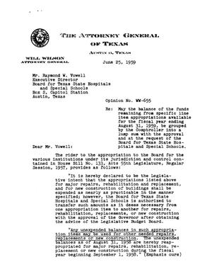 Primary view of object titled 'Texas Attorney General Opinion: WW-655'.