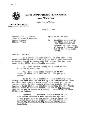 Primary view of object titled 'Texas Attorney General Opinion: WW-659'.