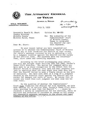 Primary view of object titled 'Texas Attorney General Opinion: WW-662'.