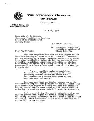 Primary view of object titled 'Texas Attorney General Opinion: WW-665'.