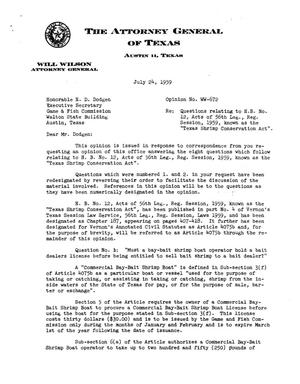 Primary view of object titled 'Texas Attorney General Opinion: WW-672'.