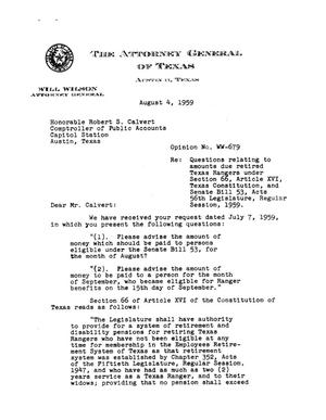 Primary view of object titled 'Texas Attorney General Opinion: WW-679'.