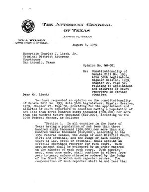 Primary view of object titled 'Texas Attorney General Opinion: WW-681'.