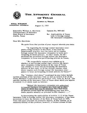 Primary view of object titled 'Texas Attorney General Opinion: WW-682'.