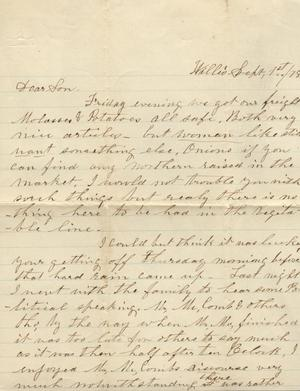 Letter to Cromwell Anson Jones, 1 September 1878