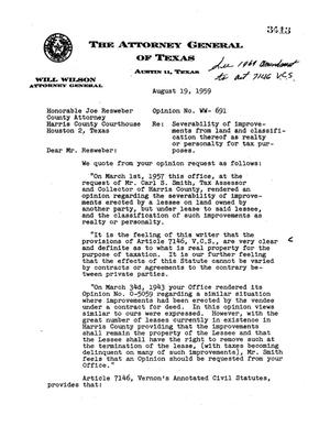 Primary view of object titled 'Texas Attorney General Opinion: WW-691'.