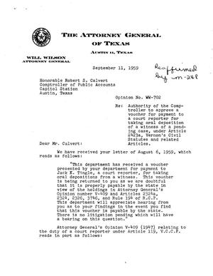 Primary view of object titled 'Texas Attorney General Opinion: WW-702'.