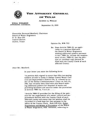 Primary view of object titled 'Texas Attorney General Opinion: WW-703'.