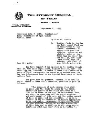 Primary view of object titled 'Texas Attorney General Opinion: WW-705'.