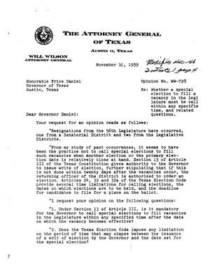 Primary view of object titled 'Texas Attorney General Opinion: WW-728'.