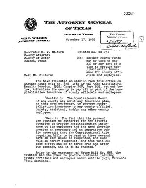 Primary view of object titled 'Texas Attorney General Opinion: WW-731'.
