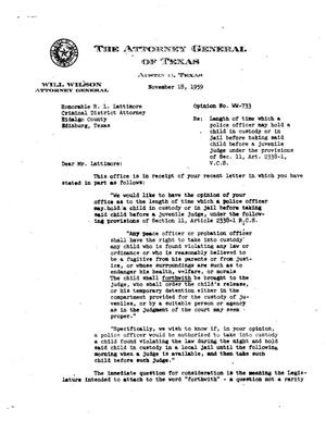 Primary view of object titled 'Texas Attorney General Opinion: WW-733'.