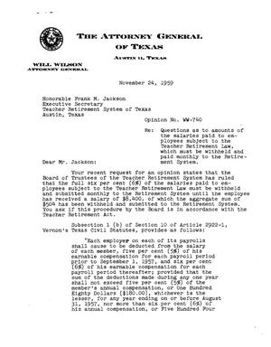 Primary view of object titled 'Texas Attorney General Opinion: WW-740'.