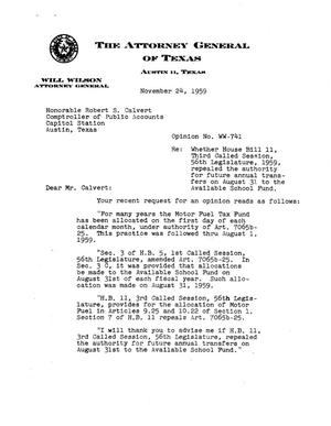 Primary view of object titled 'Texas Attorney General Opinion: WW-741'.