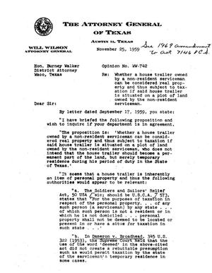 Primary view of object titled 'Texas Attorney General Opinion: WW-742'.