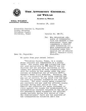 Primary view of object titled 'Texas Attorney General Opinion: WW-743'.