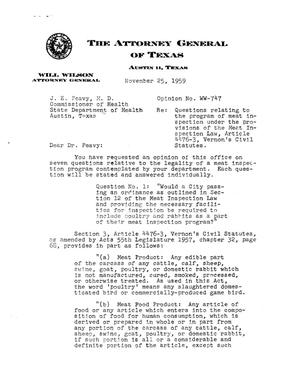 Primary view of object titled 'Texas Attorney General Opinion: WW-747'.