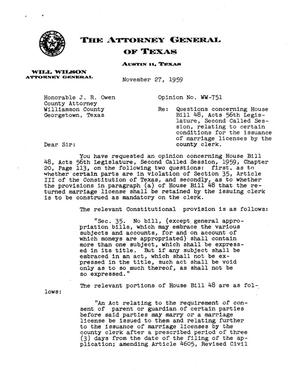 Primary view of object titled 'Texas Attorney General Opinion: WW-751'.