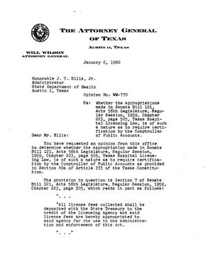 Primary view of object titled 'Texas Attorney General Opinion: WW-770'.