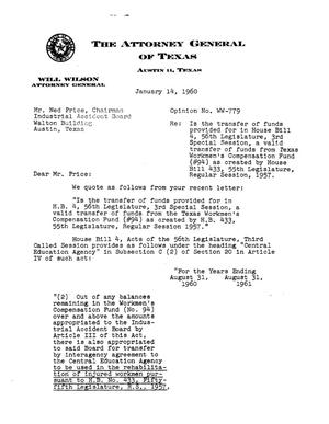 Primary view of object titled 'Texas Attorney General Opinion: WW-779'.