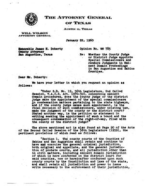 Primary view of object titled 'Texas Attorney General Opinion: WW-785'.