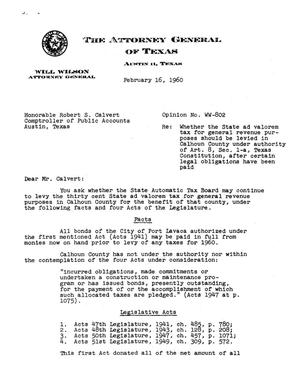 Primary view of object titled 'Texas Attorney General Opinion: WW-802'.