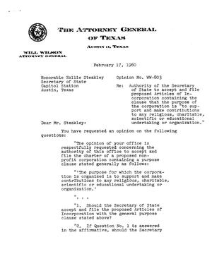 Primary view of object titled 'Texas Attorney General Opinion: WW-803'.
