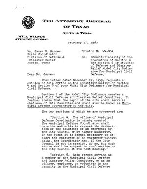 Primary view of object titled 'Texas Attorney General Opinion: WW-804'.