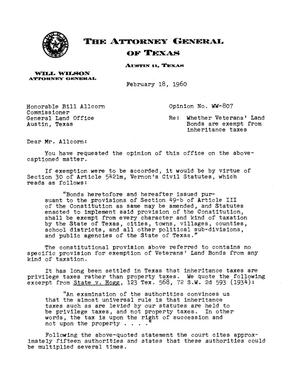 Primary view of object titled 'Texas Attorney General Opinion: WW-807'.