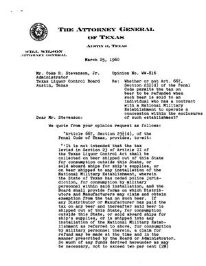 Primary view of object titled 'Texas Attorney General Opinion: WW-816'.