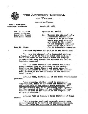 Primary view of object titled 'Texas Attorney General Opinion: WW-818'.