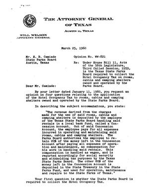Primary view of object titled 'Texas Attorney General Opinion: WW-821'.
