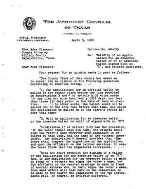 Primary view of object titled 'Texas Attorney General Opinion: WW-825'.