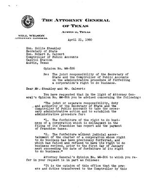 Primary view of object titled 'Texas Attorney General Opinion: WW-826'.