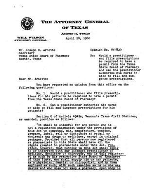 Primary view of object titled 'Texas Attorney General Opinion: WW-829'.