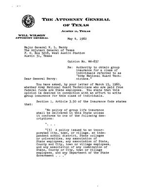Primary view of object titled 'Texas Attorney General Opinion: WW-837'.