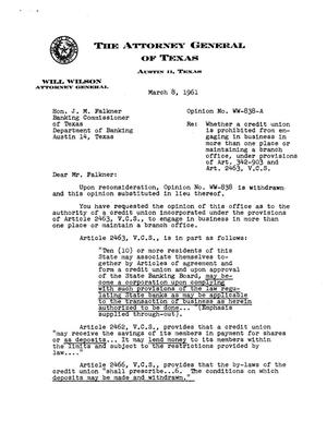 Primary view of object titled 'Texas Attorney General Opinion: WW-838'.