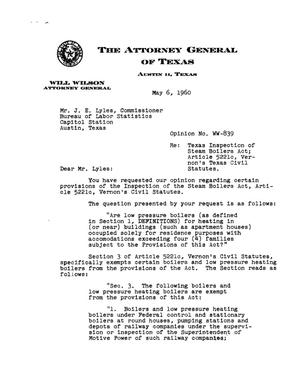 Primary view of object titled 'Texas Attorney General Opinion: WW-839'.