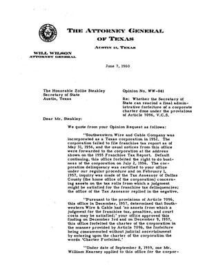 Primary view of object titled 'Texas Attorney General Opinion: WW-841'.