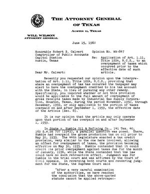 Primary view of object titled 'Texas Attorney General Opinion: WW-847'.
