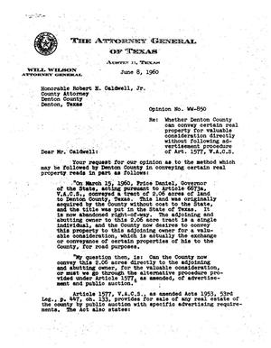 Primary view of object titled 'Texas Attorney General Opinion: WW-850'.